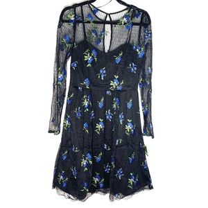 Taylor Size 8 Floral Embroidered Black Mini Dress